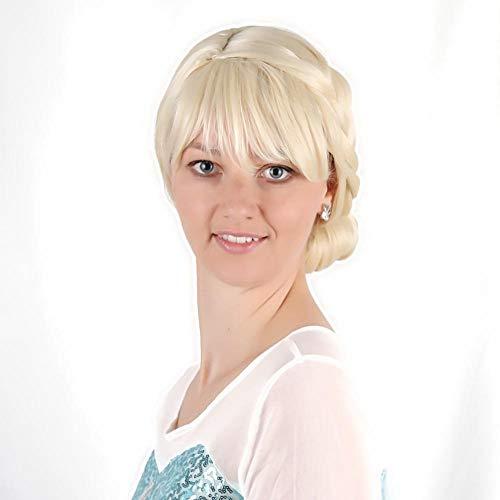 Beauty-Gesicht-fit Gefärbtes Hitzebeständige Faser Prinzessin ELSA Cosplay Naturgetreue Perücke Für Tag Partei Ausstellung Halloween (Turm Prinzessin Kostüm Perücke)