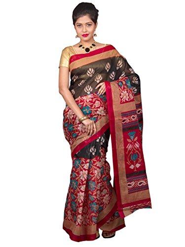 Glamorous Lady Flower Printed Daily Wear Polycotton Saree