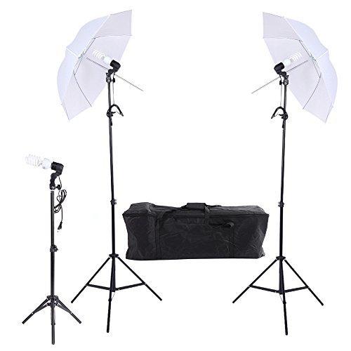 Andoer® Kit para Estudio de Fotografía / Vídeo * Paraguas de Retrato * Iluminación Triple Continuo Incluye--- Tres Bombillas + Tres Bases Giratorios de E27 + Tres Soportes de luz + Dos paraguas con Bolsa-----KIT C