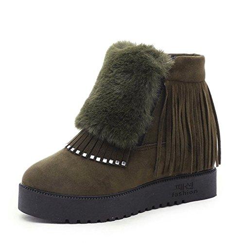 HSXZ Scarpe da donna in pelle Nubuck Inverno Comfort stivali punta tonda per Casual Nero Grigio verde militare Black