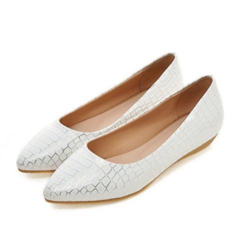 AgooLar Femme Matière Souple Tire Pointu à Talon Bas Texturé Chaussures Légeres Blanc