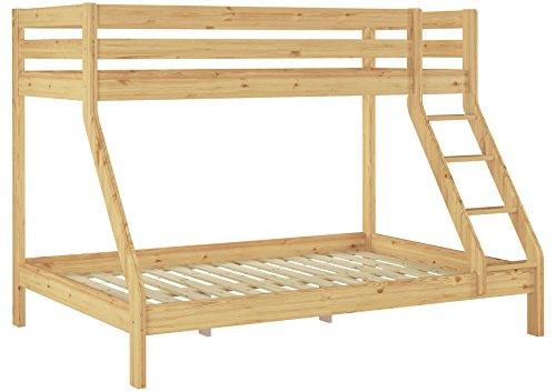 Erst-Holz Doppel-Etagenbett 140x200 und 90x200 Erwachsenen-Stockbett Kiefer Massivholz natur 60.19-09-14