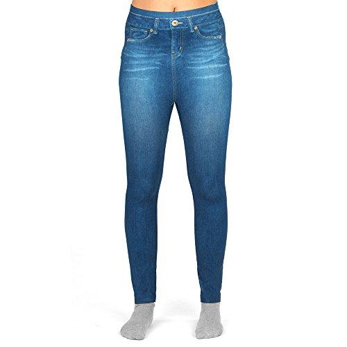 Damen Leggings in Jeans Optik - Innovation im Bereich Leggings I Bequeme Leggings mit Jeans Optik I Jeans Muster, Druck, Print - One Size