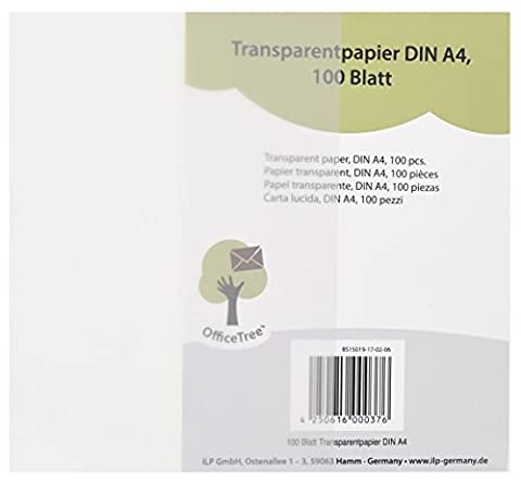 Office Tree® 100 feuilles de papier transparent DIN A4–100 g/m² qualité premium – Blanc – Dessiner