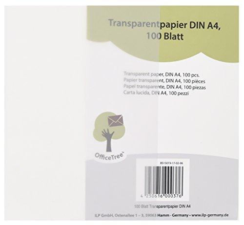 OfficeTree ® 100 Blatt Transparent-Papier DIN A4 - 100 g/qm Premium-Qualität weiß - Zeichnen Basteln Gestalten edler Hochzeits-Einladungen Speise-Karten Gutscheine Glückwünsche - beidseitig bedruckbar