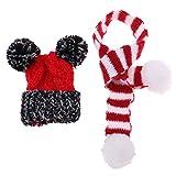 CUTICATE 1/6 Puppe Weihnachten Hut Strickschal Set Winter Outfit Zubehör Rot + Weiß