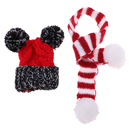 Baoblaze 2-teilig Puppe Weihnachten Mütze mit Strickschal Set Winter Outfit Zubehör Für 1/6 Monster High Doll - Rot + - Neue Monster High Kostüm