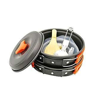 Lefu 10 Stück Camping Kochgeschirr Kit im Freien Kochen Ausrüstung Set - leicht und einfach zu tragen Durable Folding Pot Schüssel Set Wandern Picknick Angeln Orange