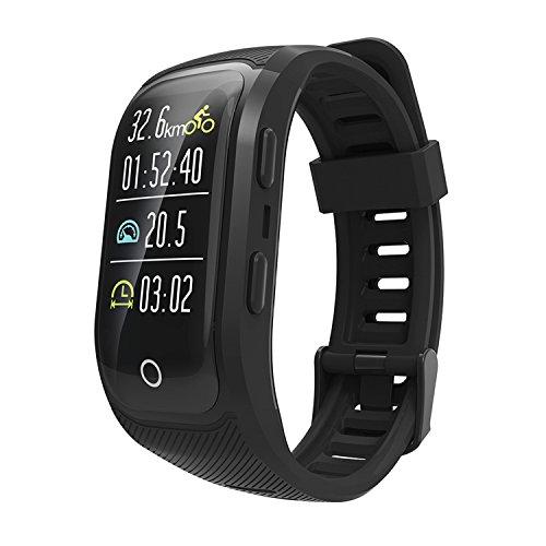 TYWZF Pulsera Actividad Monitor De Ritmo Cardíaco GPS Podómetro Bluetooth IP68 Nadar A Prueba De Agua Monitoreo De Sueño Saludable para iOS Teléfono Android,Black