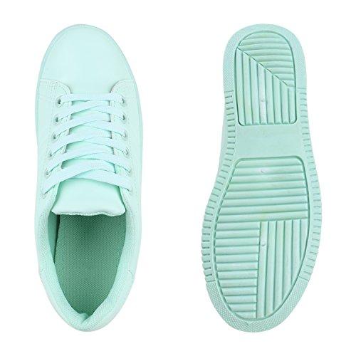 Damen Plateau Sneakers Profilsohle Sportschuhe Schnürer Hellgrün