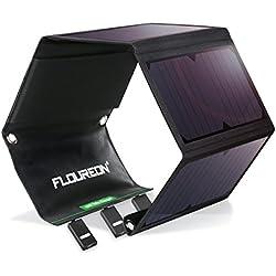 FLOUREON 28W Chargeur Panneau Solaire avec 3 Ports USB et 4 Panneaux Solaires Pliables Imperméables, Chargeur Solaire Portable Puissant pour Smartphone Android, etc.
