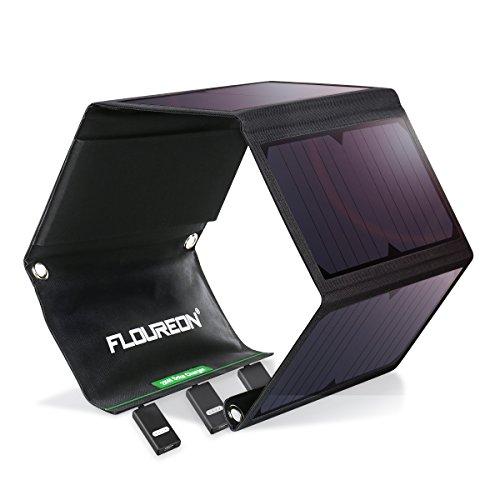 FLOUREON 28W Solar Powerbank Solar Ladegerät Wasserdichte Solar Charger Outdoor mit 3-USB-Port für iPhone, iPad, Tablets, Kindle, Lautsprecher, Andriod, Smartphone im Freien Wie Camping, Wandern