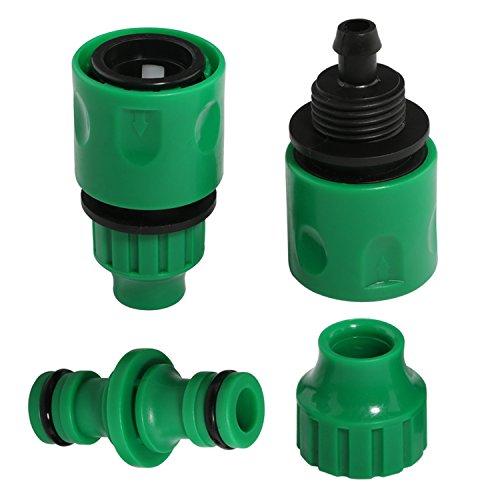 2Garten Schlauch Wasser Anschluss Tischler Quick Fix-Koppler + 12Wege Adapter Wasserhahn-Anschluss Montage Gartenbewässerung System Komponenten