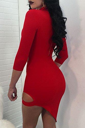 Le Donne Sexy Solo 3 / 4 Manica Scollato Top Scollato Vestito Vuoto Fuori Bodycon Asimmetrici Red