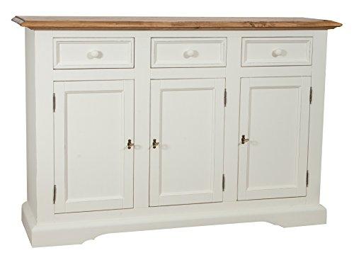 Aparador Shabby–Country Chic de madera maciza de tilo Artesanal estructura blanca antiguo Piano Acabado Natural L156X PR45X H103cm Made in Italy