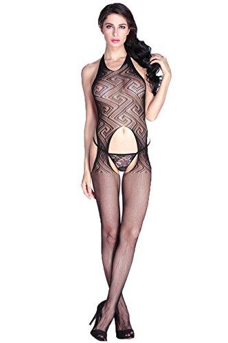 Yali lace halter babydoll pezzo sacco pigiama calze,nero,taglia unica