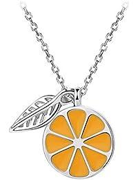 zhagnyy Collar 925 Collar de Plata Cadena de clavícula Salvaje Femenina Personalidad Limón Colgante Cadena de