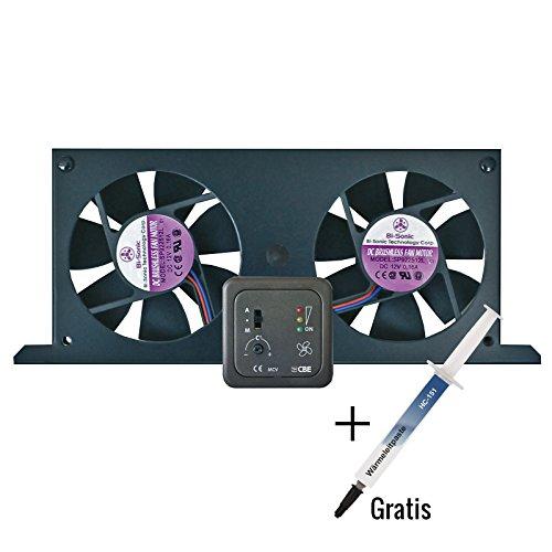 Preisvergleich Produktbild CBE® Tornado Doppellüfter Set für Camping Kühlschränke (Absorptionskühlschrank) inkl Bedienteil + Wärmeleitpaste (1g)