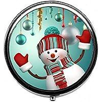 LinJxLee meirry Christmas Snowman Portable Round Pill Case Pill Box Medicine Box Medicine Tablet Vitamin Organizer... preisvergleich bei billige-tabletten.eu