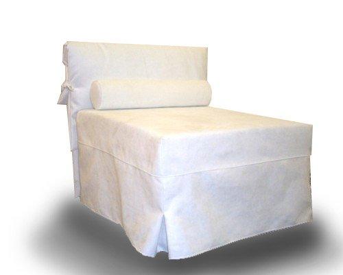 Ponti divani - chic - poltrona letto singolo con materasso h 10cm di ottima qualità e rete italiana tessuto bianco