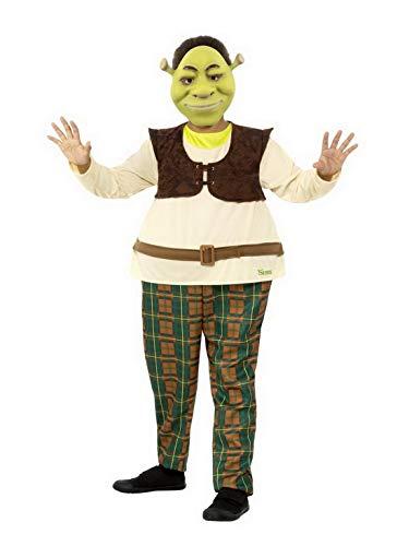 Jungen Für Shrek Kostüm - Halloweenia - Jungen Kinder Shrek Deluxe Kostüm Einteiler Overall und Maske, perfekt für Karneval, Fasching und Fastnacht, 104-116, Beige