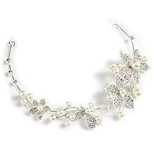 Matrimonio nuziale di cristallo strass fiore perle finte Decor capelli banda archetto Tiara copricapo VORCOOL moda delicata delle donne