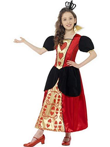 Luxuspiraten - Mädchen Kinder Herz-Königin - Queen of Hearts Kostüm mit Kleid und Krone, perfekt für Karneval, Fasching und Fastnacht, 122-134, Rot
