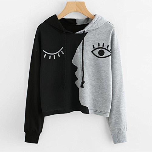 Kolylong Pull Chemise Femme Taille Haute Printemps, Koly 2018 Automne Mode Sweat-Shirt Noir Blanc en Vrac Filles Sweat à Capuche Top Blouse Manteau Manches Longue T-Shirt Décontractée Gris