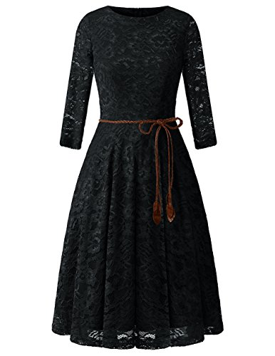 Bridesmay Damenkleid 3/4 Ärmel Elegant Floral Spitzenkleid Cocktailkleid Black XL