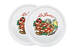 2er Set Pizzateller Napoli groß - 30,5cm Porzellan Teller mit schönem Motiv - für Pizza / Pasta, den'großen Hunger' oder zum Anrichten geeignet