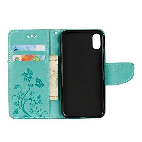 iPhone X Custodia,COOSTOREEU Farfalla Fiorisce Pattern PU Custodia in Pelle Custodia Flip Cover per Apple iPhone X,Porpora Verde