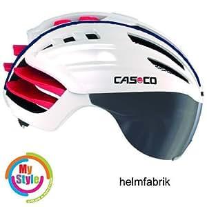 Casco Speedairo Rennradhelm weiss-rot Biese blau incl. Visier und Hardcase, Größe M (55-59cm)
