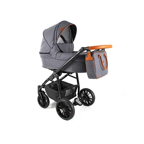 Travel System Stroller Pram Pushchair 2in1 3in1 Set Isofix Fort by SaintBaby Sand for-2 4in1 car seat +Isofix SaintBaby 3in1 , 2in1 or 4in1 selectable with isofix. With 3in1 you get the car seat (baby seat) in addition. With 4in1 you get both the infant carrier with Isofix mount and an Isofix base for your car. Of course, each set includes the infant carrier (classic stroller) and the buggy attachment (sports seat). The free accessories are also included in each set (changing bag, mosquito net and rain hood). Of course the car complies with the EU safety standard EN1888. During the production as well as before shipping, each car is carefully checked, so that you can be sure to have one of the best cars. Saintbaby stands for all-round carefree packages, so you also get a changing bag in the colour of the car, as well as rain and insect protection free of charge. With all the colours of this pram you will find the pram of your dreams. 7