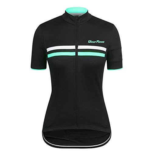 Uglyfrog Bike Wear Radsport Bekleidung Damen Trikots & Shirts Kurzarm Outdoor Sports Slim Fit Full Zip Atmungsaktiv und Schnell Trocknend