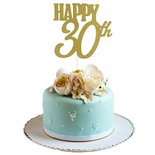 Ruby569y Tortenaufsatz für Geburtstag, Tortendekoration, Happy 10/20/30/40/50/60th Love Cupcake Topper Einsatz Geburtstag Party Deko, Papier, Happy 30th