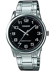 CASIO MTP-V001D-1 - Reloj de pulsera, para hombre, color negro y plateado