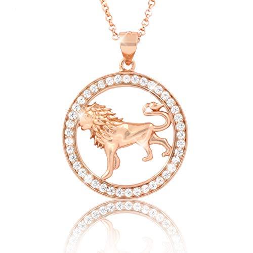 PAVEL´S elegante Damen Halskette Kette Sternzeichen LÖWE Roségold plattiert glänzende Zirkonia in AAA Qualität aus der Kollektion ECLIPSE inkl. Schmuckbox und Echtheits-Zertifikat
