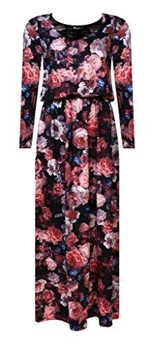 Purple Hanger - Robe Femme Maxi Sans Manche Uni Dos Nageur Taille Froncé Elastiqué Sans Manche Neuf Rose Print
