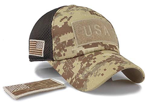 KEFITEVD Herren Military Cap Paintball Airsoft Taktisch Baseball Kappe Multicam Flecktarn Wandern Reisen Armee Cap Patch Sport Hat Wüste