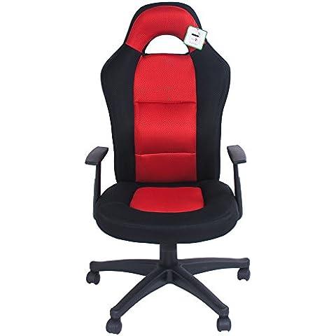 Scrivania, sedia, sedia da ufficio girevole, imbottita con schienale ergonomico regolabile in tessuto a maglia, da corsa rosso