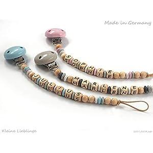 Schnullerkette mit Namen - Holzprodukt - Unisex Junge Mädchen max. 10 Buchstaben - natur - blau - grau - rosa - weiß - Holzbuchstaben Baby Silikonring - Geburtsgeschenk - Made in Germany
