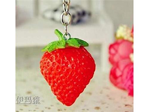 AAWWEERRTYU Schlüsselanhänger Weicher Gummi-Frucht-Erdbeerschlüssel-Schmuck-Schlüsselring-Art und Weise Trinket-Andenken-Geschenk-Beutel-Schlüsselhalter Decorations_Red