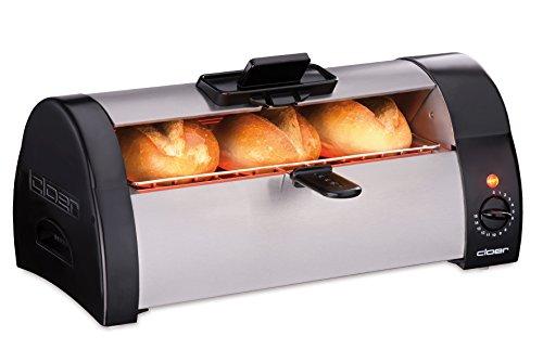 Cloer 3080 Brötchenbäcker zum Aufbacken von Brötchen, Kuchen oder Hefeteilchen 570 W, mattiertes Edelstahlgehäuse