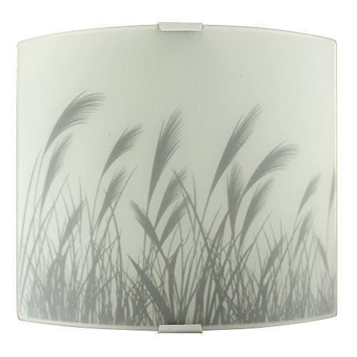 MiniSun - Flush, zeitgenössische und gebogene Wandleuchte mit Weizenfeldmotiv und einem schönen lichtfilternden Lampenschirm aus weißem Milchglas - Wandlampe (Milchglas Lampenschirm)