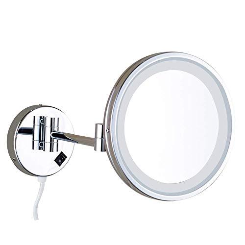 Makeup Mirror LED wandmontage Kosmetikpiegel Vergrößerung 8 Zoll Runden Einzelne Seite Schminkspiegel Einziehbar Drehen Bad Kosmetikspiegel Wenaqin,A,3X