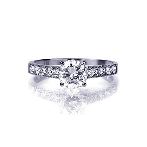 Kleine Schätze - 14 Karat (585) Weißgold Verlobungsring Ehering / Trauring / Partnerring - 1.0 ct Zirkonia Solitär Ring