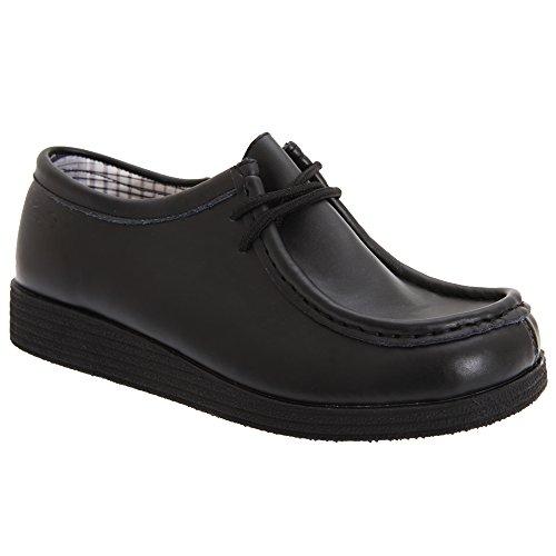 Route 21 Jungen Schuhe Apron Para, beschichtetes Leder Schwarz
