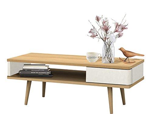 Loft24 Anne Couchtisch mit Schublade Wohnzimmertisch weiß Kaffeetisch Sofatisch Beistelltisch Retro...