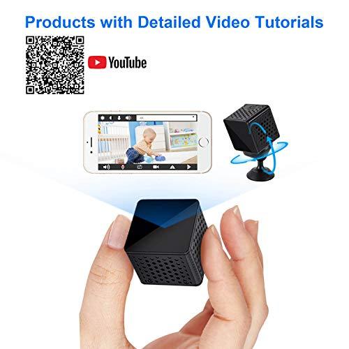 WiMaker WiFi Mini-Kamera, HD 1080P WLAN tragbare kleine Überwachungskamera mit Bewegungserkennung, Nachtsicht, Remote-Monitor und Ansicht für iPhone/Android-Telefon/iPad/PC -