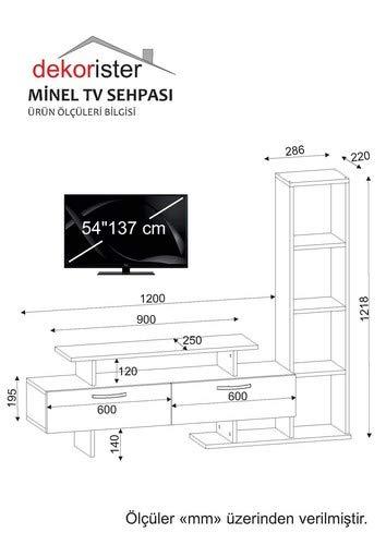 Wohnwand Anbauwand Wohnwandkombi TV Medienwand Lowboard MINEL in Weiß-Cordoba 1759 - 4